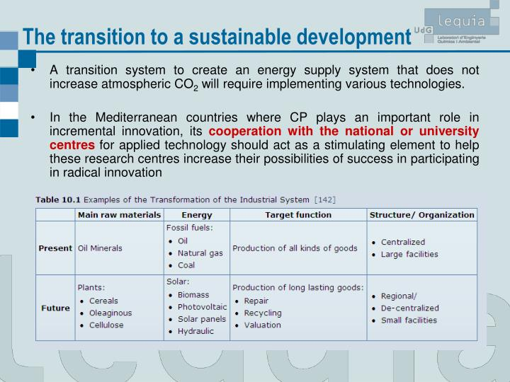 The transition to a sustainable development
