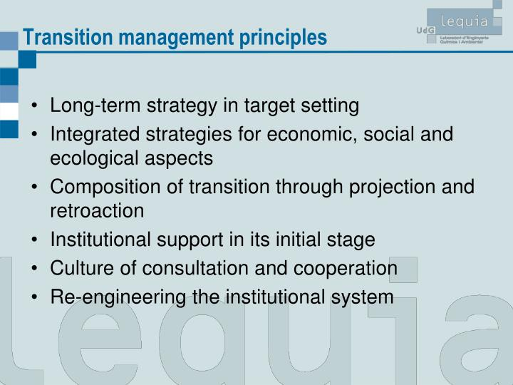Transition management principles