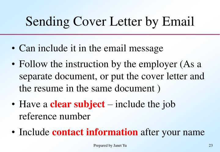 sending cover letter by email