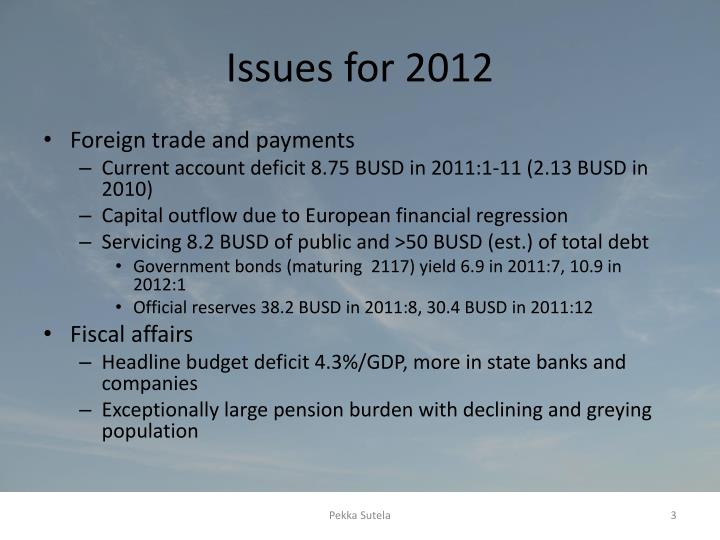 Issues for 2012