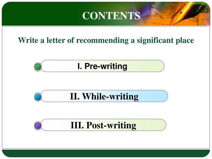 I. Pre-writing