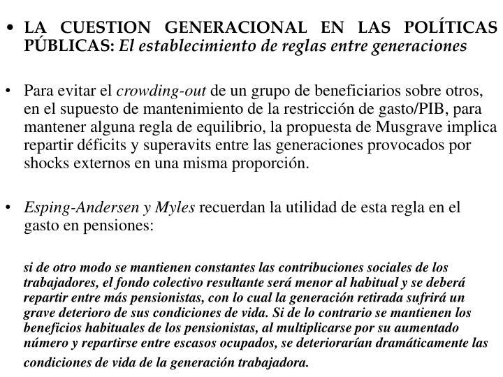 LA CUESTION GENERACIONAL EN LAS POLTICAS PBLICAS: