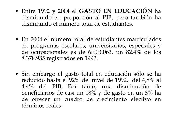 Entre 1992 y 2004 el