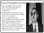 end of president urrutia