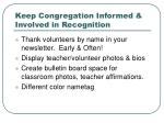 keep congregation informed involved in recognition