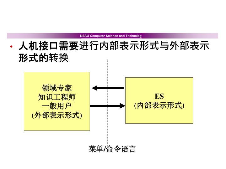 人机接口需要进行内部表示形式与外部表示形式的转换