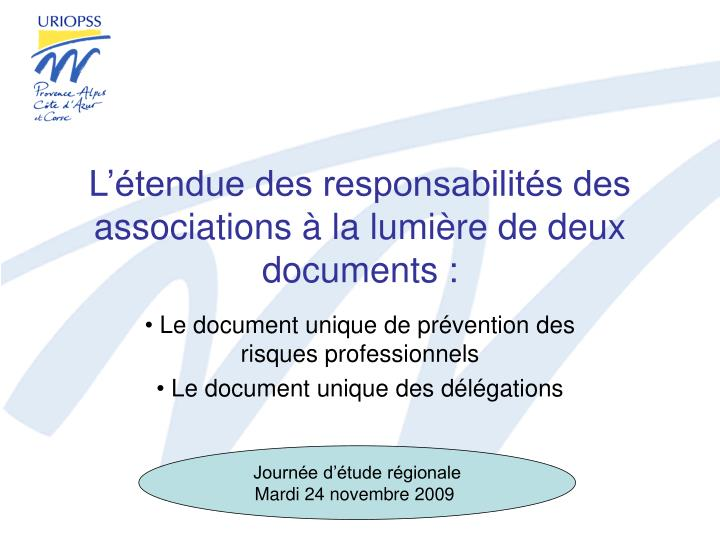L tendue des responsabilit s des associations la lumi re de deux documents