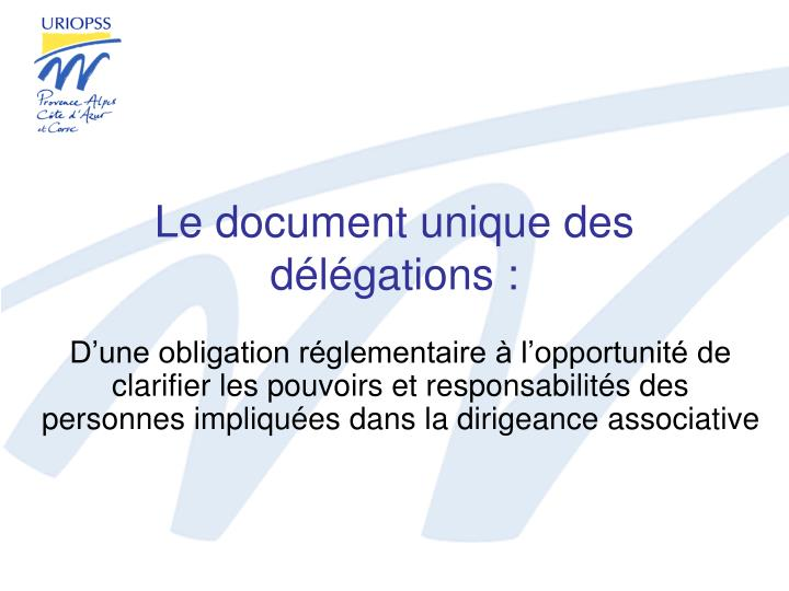Le document unique des d l gations
