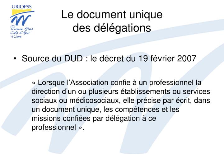 Le document unique des d l gations1