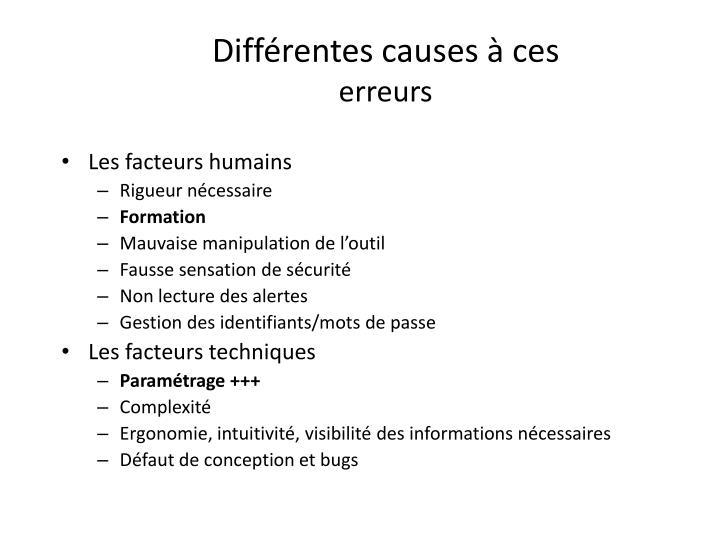 Différentes causes à ces