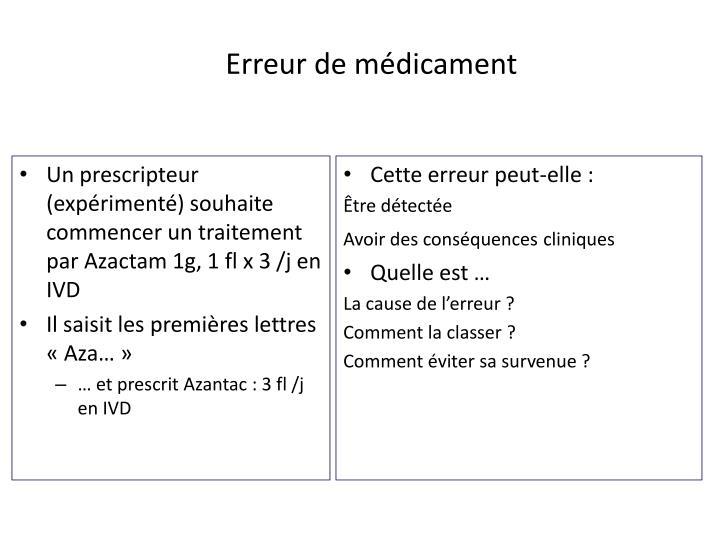 Un prescripteur (expérimenté) souhaite commencer un traitement par Azactam 1g, 1 fl x 3 /j en IVD