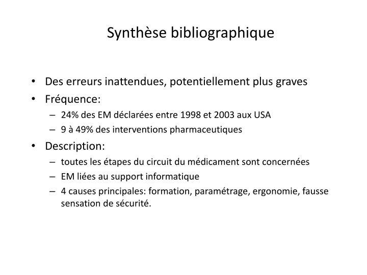 Synthèse bibliographique