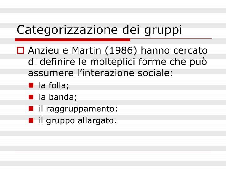 Categorizzazione dei gruppi
