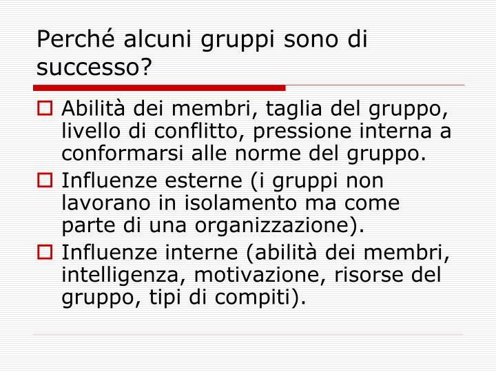Perché alcuni gruppi sono di successo?