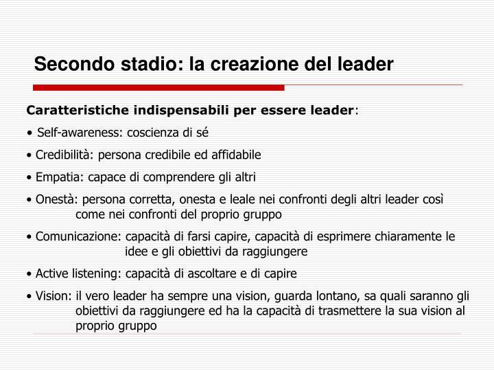 Secondo stadio: la creazione del leader