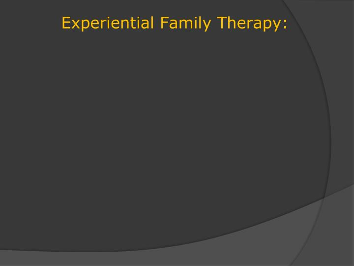 symbolic experiential family therapy Carl whitaker, md, (1912-1995) was a physician and pioneering family therapist credited for the co-development of the symbolic-experiential approach to therapy and the use of co-therapyknown for his charm and charismatic manner, he was one of the most powerful voices in shaping the practice of family therapy as it began to develop in the 1960s.