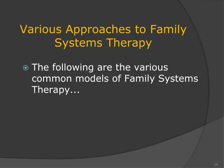 family therapy approaches The legacy of unresolved loss: a family therapy approach – john edwards, phd psychotherapynet tools and techniques for family therapy with john t edwards, phd.