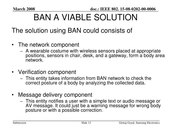 BAN A VIABLE SOLUTION