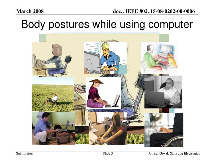 Body postures while using computer