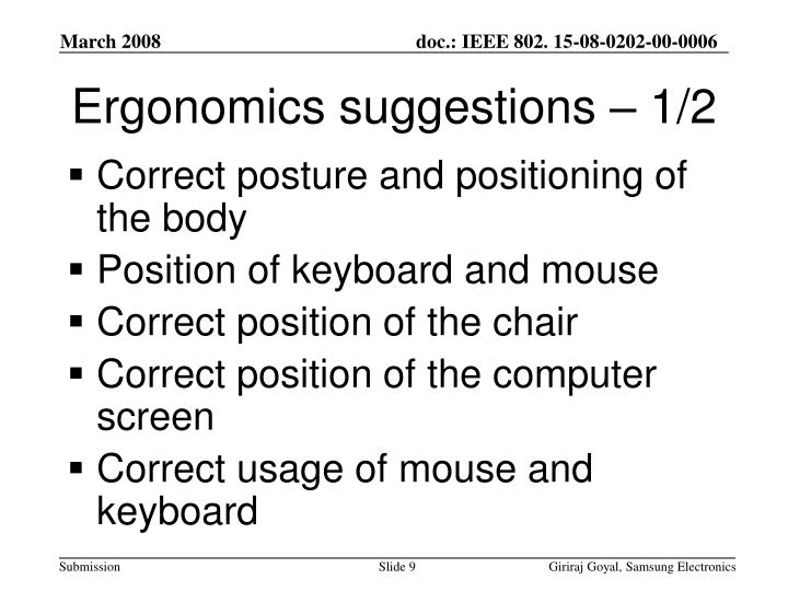 Ergonomics suggestions – 1/2