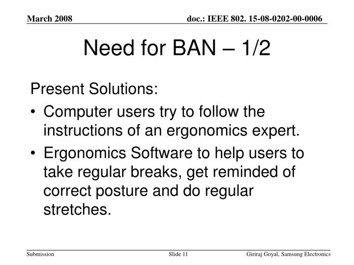 Need for BAN – 1/2