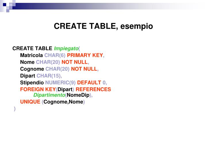 CREATE TABLE, esempio