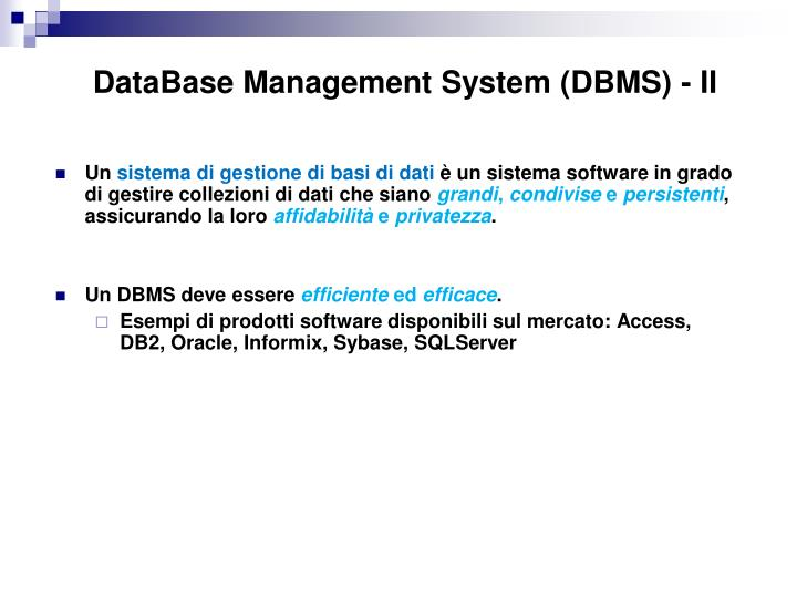 DataBase Management System (DBMS) - II