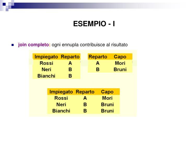 ESEMPIO - I