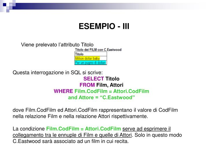ESEMPIO - III