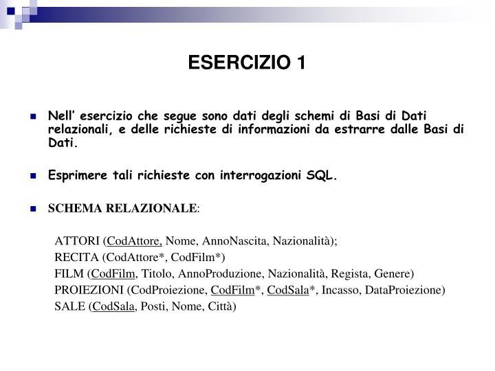 ESERCIZIO 1