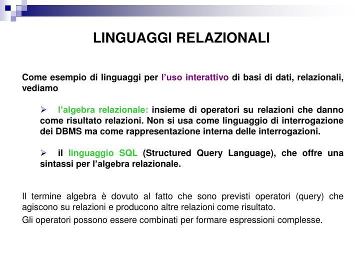 LINGUAGGI RELAZIONALI