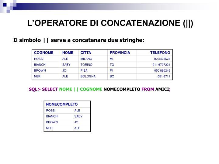L'OPERATORE DI CONCATENAZIONE (||)