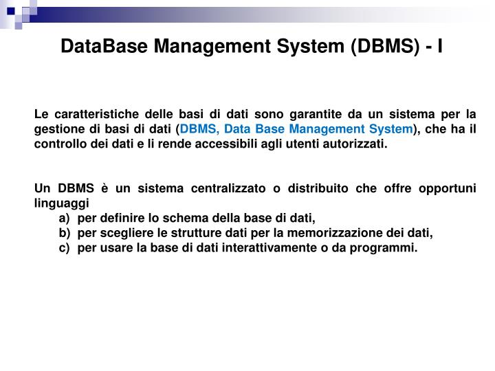 DataBase Management System (DBMS) - I
