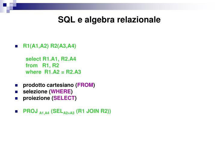 SQL e algebra relazionale