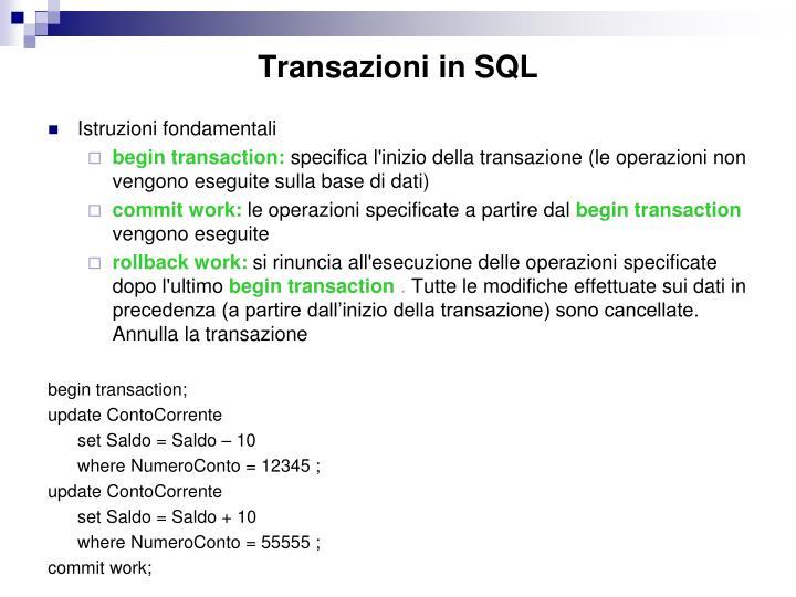 Transazioni in SQL