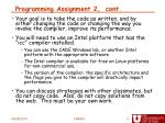programming assignment 2 cont
