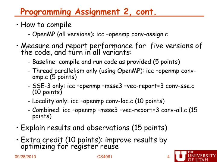 Programming Assignment 2, cont.