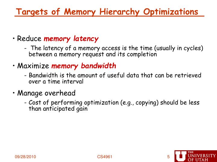 Targets of Memory Hierarchy Optimizations