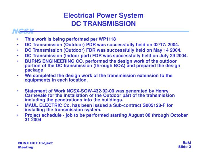 Electrical power system dc transmission