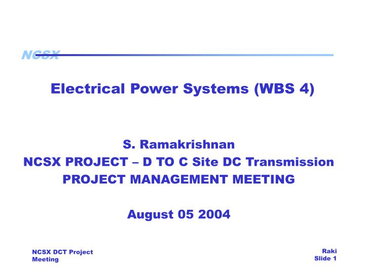 Electrical power systems wbs 4