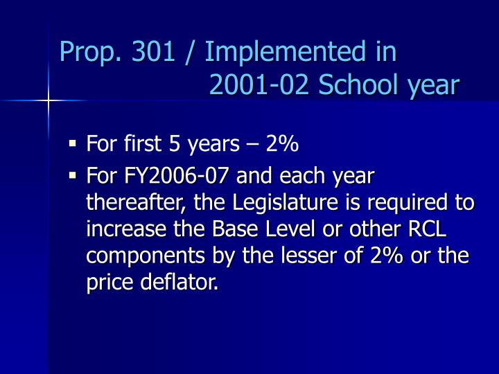 Prop. 301 / Implemented in    2001-02 School year