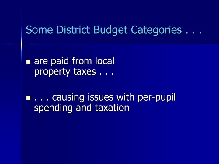 Some District Budget Categories . . .
