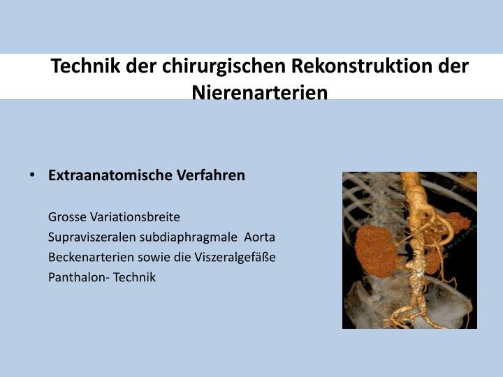 Technik der chirurgischen Rekonstruktion der Nierenarterien