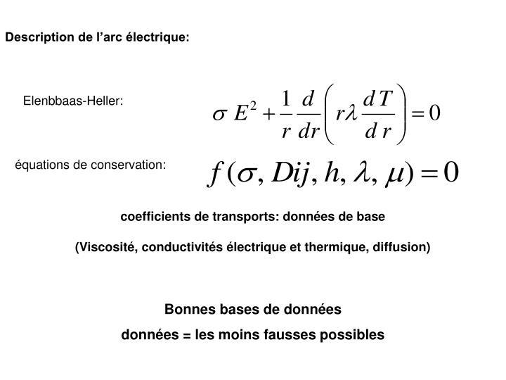 Description de l'arc électrique: