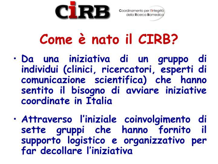 Come è nato il CIRB?