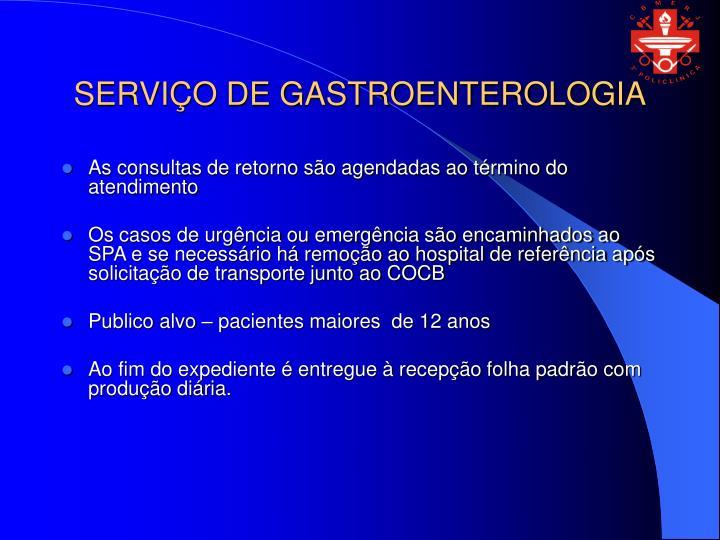 SERVIÇO DE GASTROENTEROLOGIA