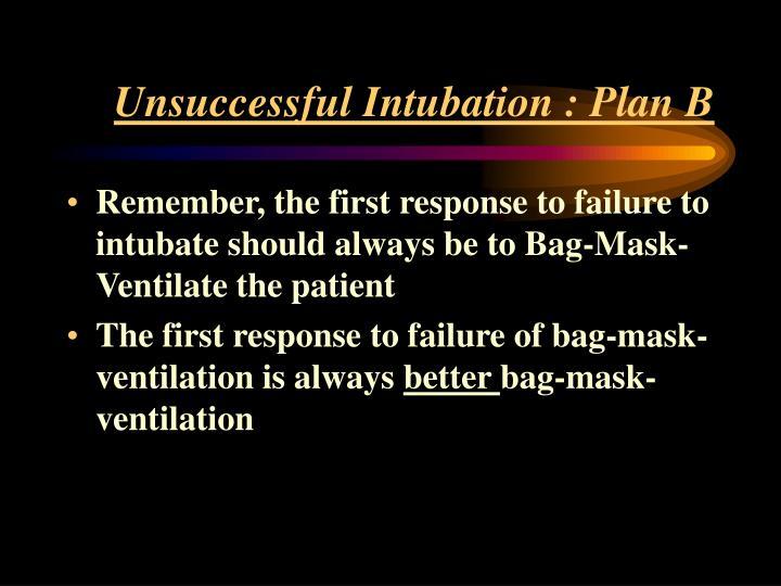 Unsuccessful Intubation : Plan B