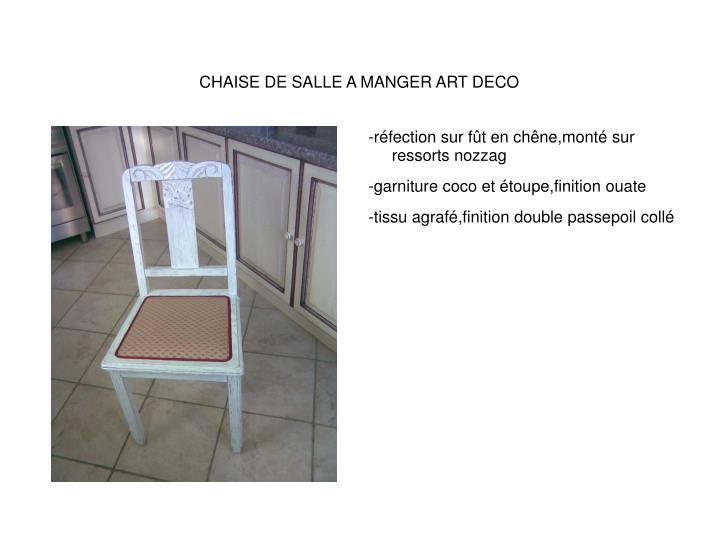 CHAISE DE SALLE A MANGER ART DECO