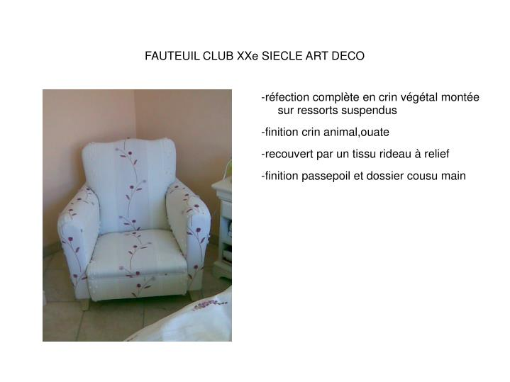 FAUTEUIL CLUB XXe SIECLE ART DECO