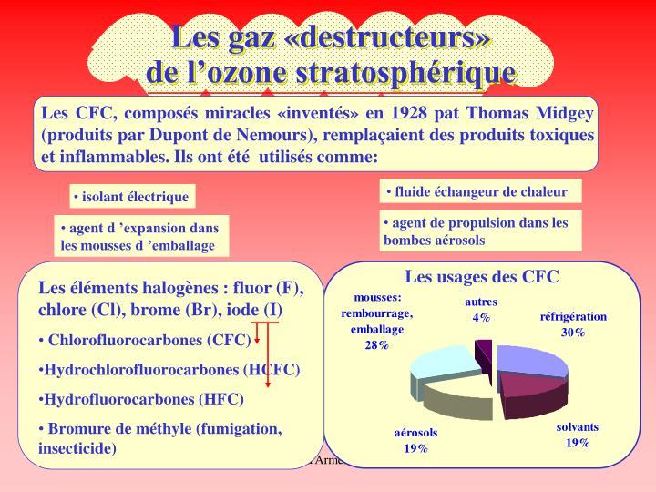 Les éléments halogènes : fluor (F), chlore (Cl), brome (Br), iode (I)